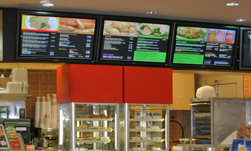 Section of Panna's Doral Digital Signage - 8 Plasmas